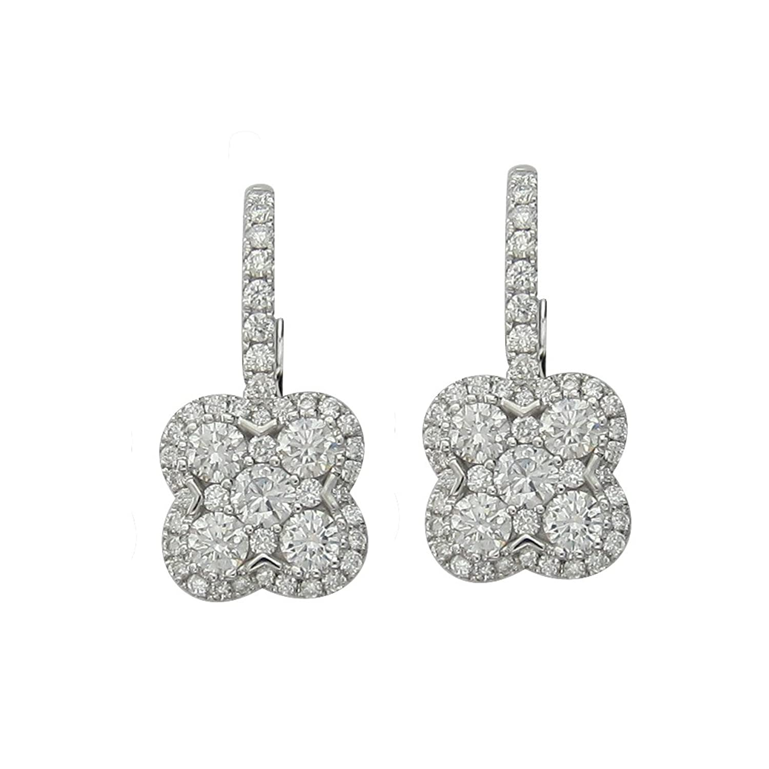 Amazon 2 09 CT F SI1 Cluster Diamond Earrings in 18K White Gold