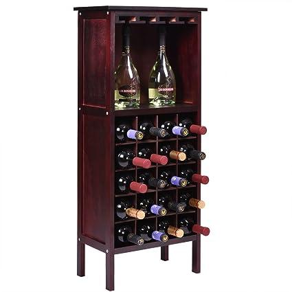 USA Premium Store Wood Wine Cabinet Bottle Holder Storage Kitchen Home Bar  W/ Glass Rack