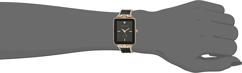 Anne Klein Women's Genuine Diamond Dial Bangle Watch, AK/3636 Black/Rose Gold