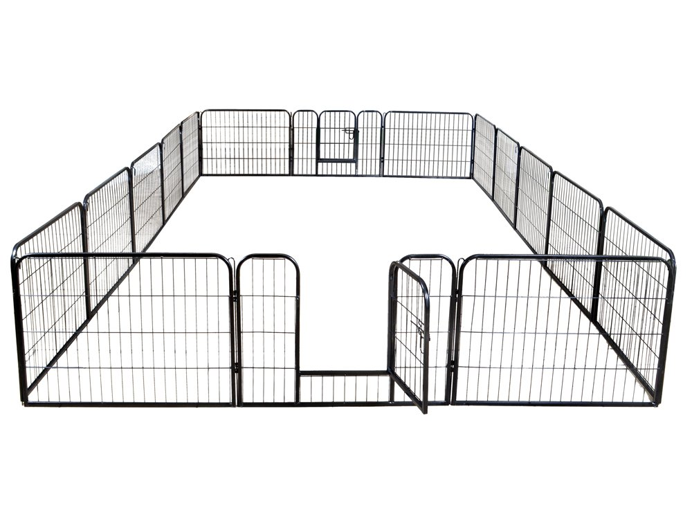 TMS 24 Tall 16 Panels Metal Pet Dog Puppy Cat Exercise Fence Barrier Playpen Kennel
