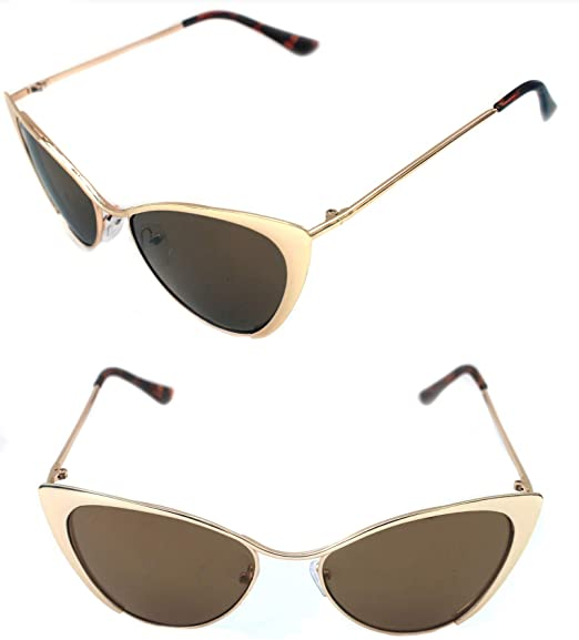 b9ef6447db Image Unavailable. Image not available for. Color  WOMEN S NASTASYA CAT EYE  METAL GOLD FRAME SUNGLASSES BROWN ...