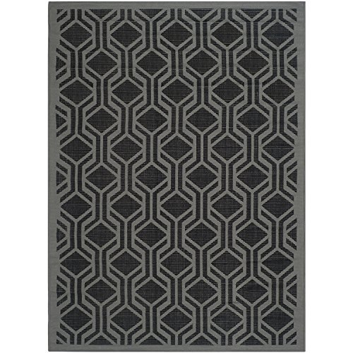 Safavieh Courtyard Collection CY6114-225 Black and Anthracite Indoor/ Outdoor Area Rug (4' x 5'7