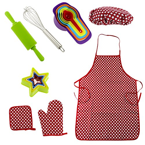 Philonext 17 Pcs Premier Deluxe Chef Set for Kids Children Cooking Personalized Dress Up Little Chef Role Play with Apron, Chef Hat and Other Accessories (Mitt Personalized)
