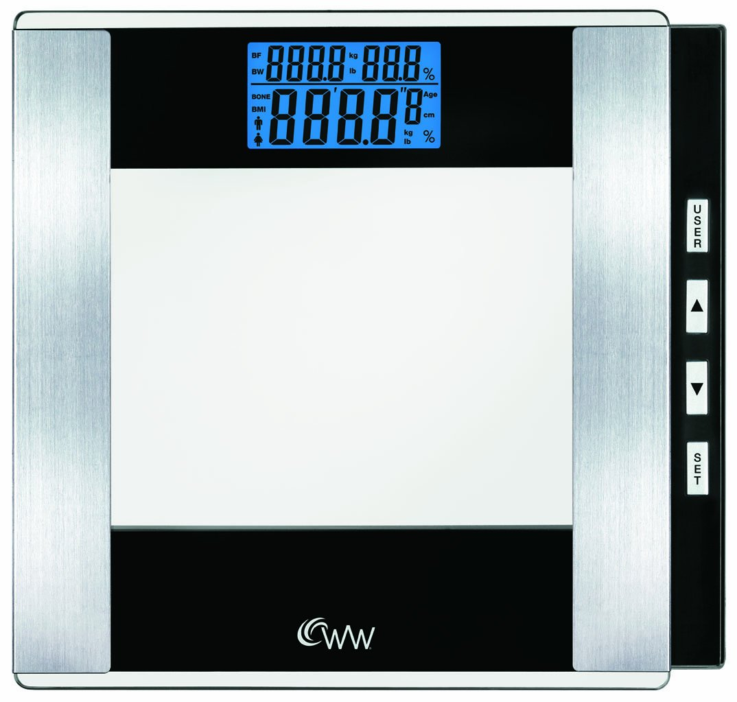 WW Scales by Conair Body Analysis Glass Bathroom Scale - Measures Body Fat in Weight and Percentage, Body Water, Bone Mass, BMI, 4 User Memory, 400 lb. capacity, Black / Chrome by Conair