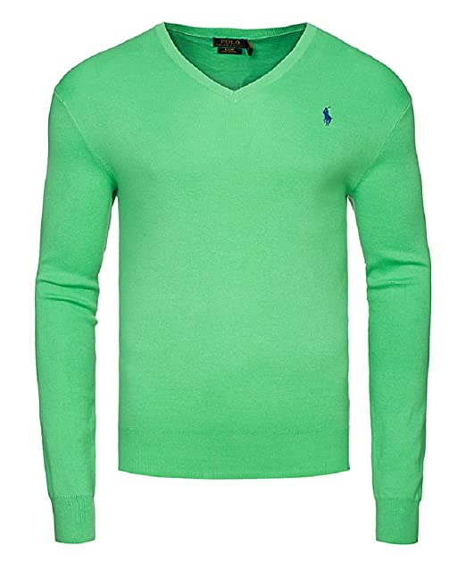 48a93894c211bf ... real polo ralph lauren pullover v neck grün optic lime pony blau 13a47  e444b
