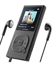 Victure 100 Hours MP3 Player 8G Portable Lossless Sound Hi-Fi Metal Music Player with Headphone FM Radio 1.8TFT Screen Voice Recorder, Support up 64GB