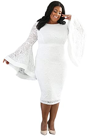 bce6dd419a SunShine Plus Size Dress White Bell Sleeves Lace Dress at Amazon Women s  Clothing store