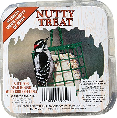 C&S Nutty Treat Year Round Wild Bird Suet Cake Food (72-Pack) by C & S