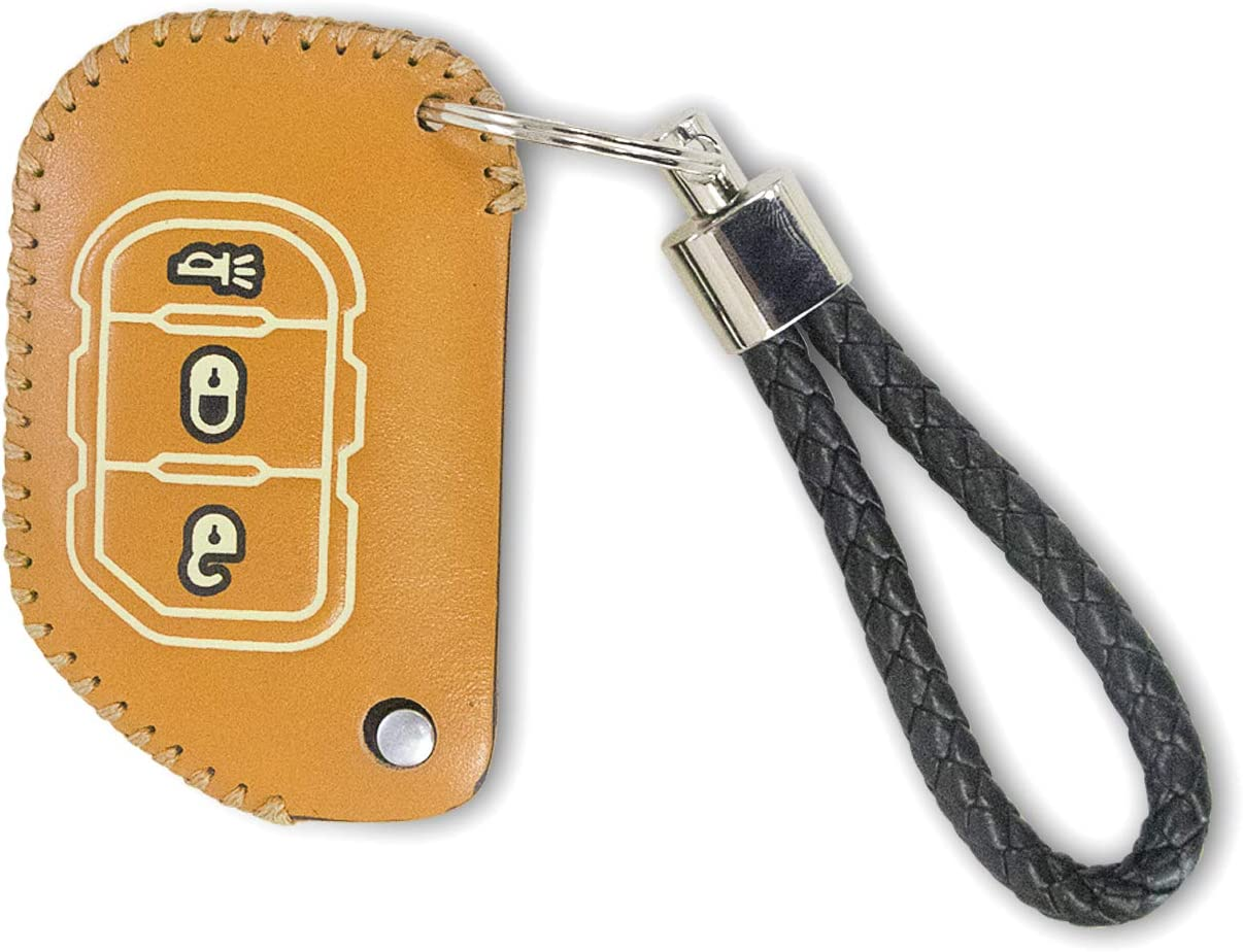 Cowhide Remote Key Chain Case for Jeep Wrangler JL JLU 2018-2020 Sukemichi Jeep Fob Key Cover