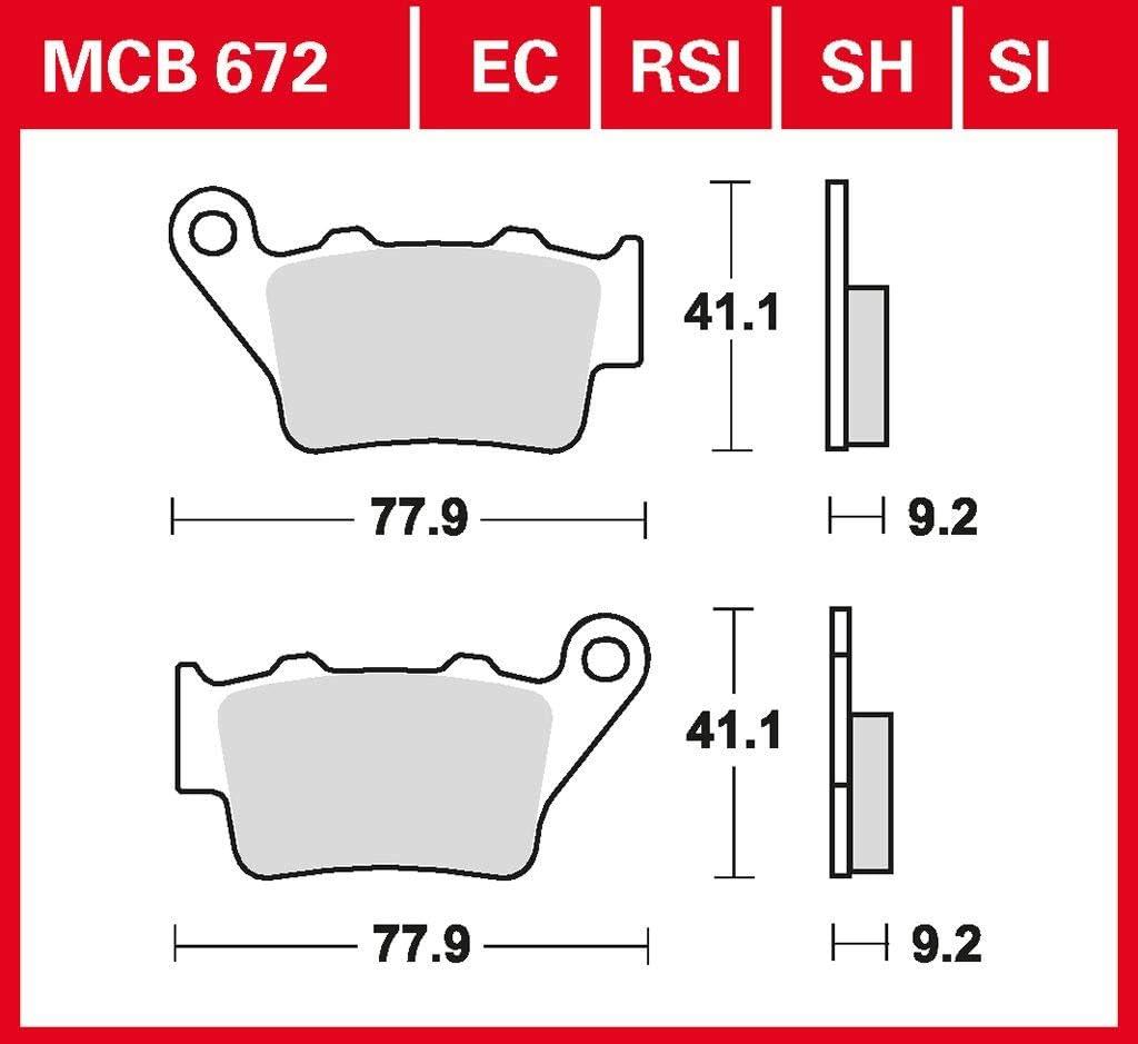 Bremsbelag TRW MCB672 organischer Allround-Bremsbelag passend f/ür 125 Duke ABS IS Duke 2014-2016