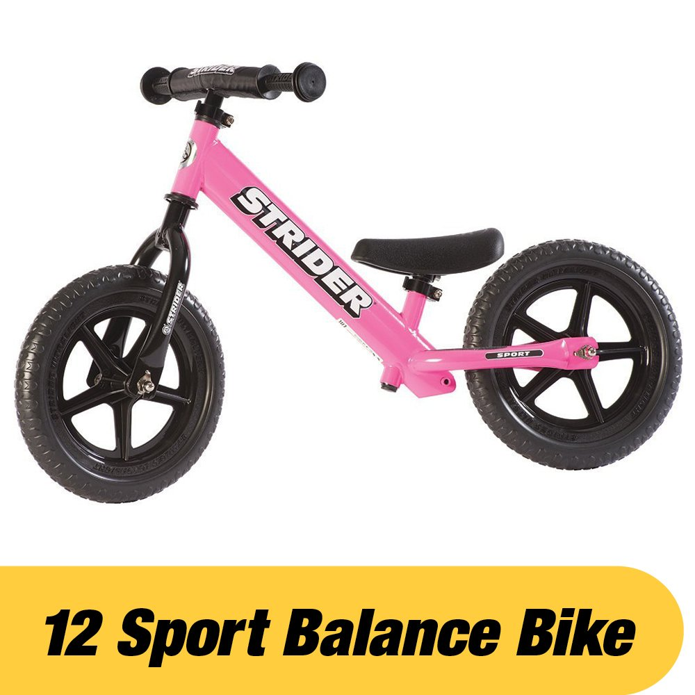Strider - 12 Sport Balance Bike, Ages 18 Months to 5 Years, Pink by Strider