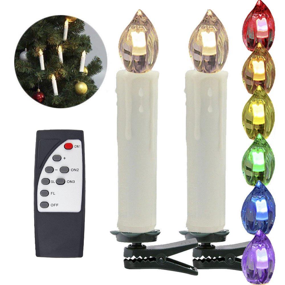 Podómetro hejun® Set LED Árbol de Navidad velas con mando a distancia para interior y exterior Árbol de Navidad