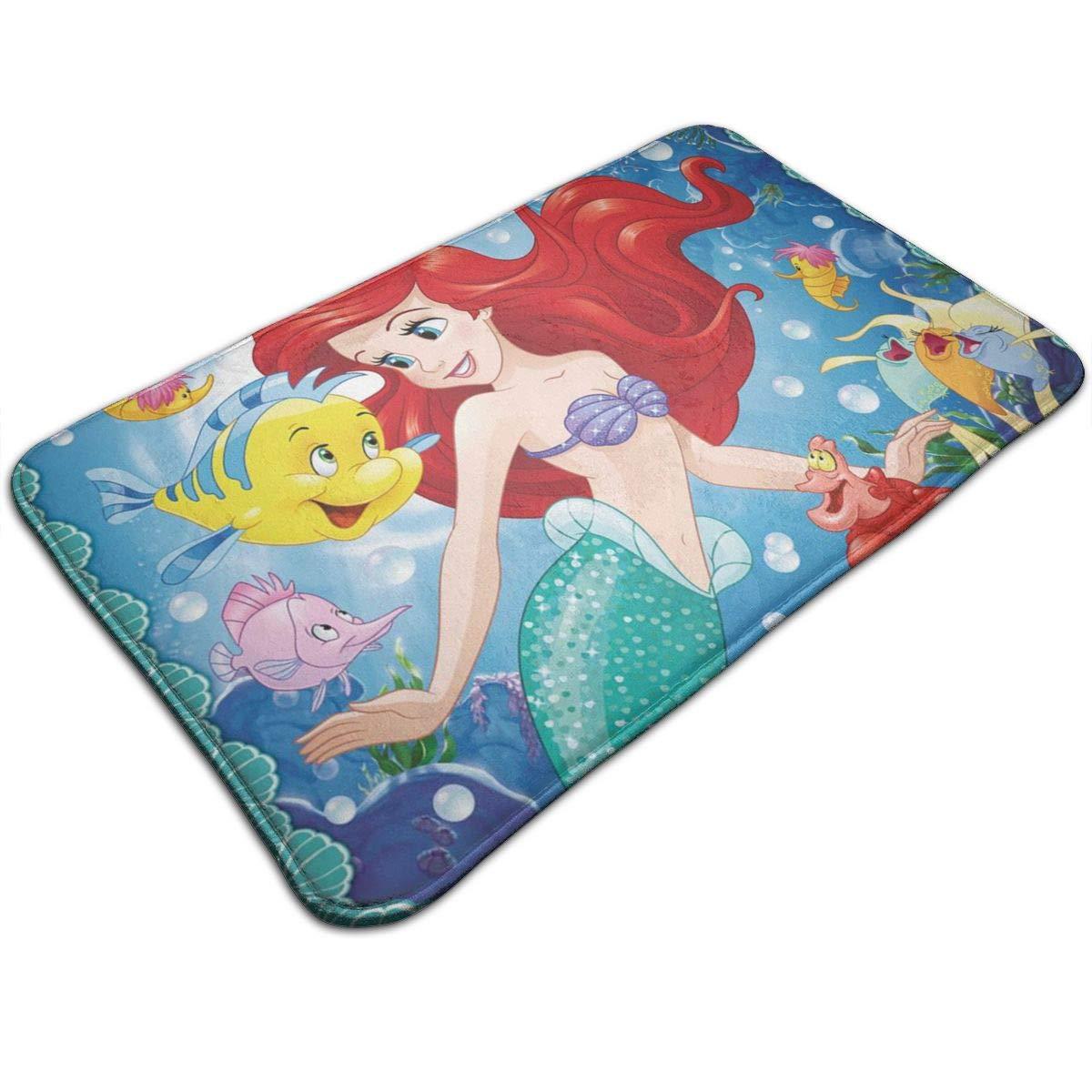 "HARLEY MARTIN Welcome Doormat Ariel Mermaid Disney Princess Rug 19.5"" X 31.5"" Non-Slip Kitchen Home Bathroom Pet Entry Rugs"