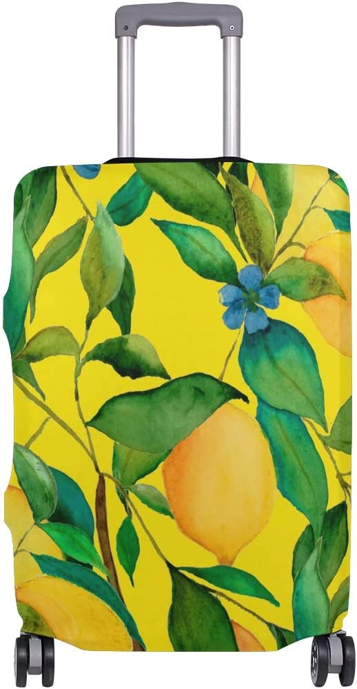 Baggage Covers Yellow Fruit Lemon Green Leaf Blue Floral Washable Protective Case