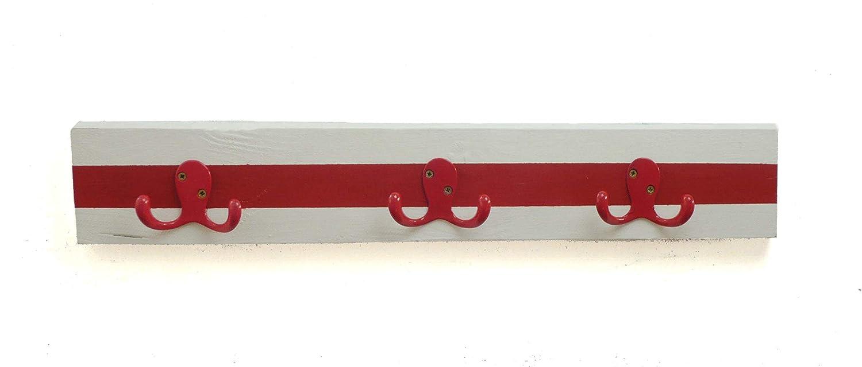 Perchero pared, de madera pintando blanco y rojo, con tres ...