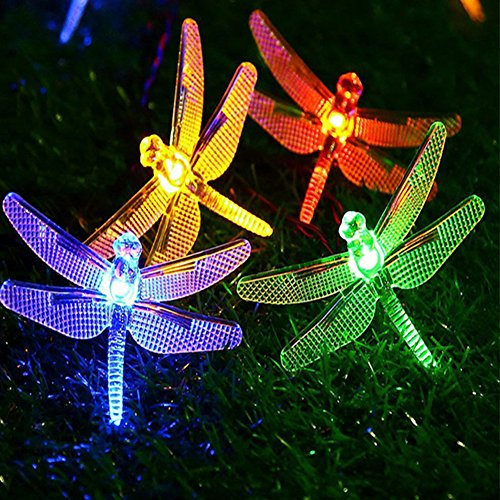 Semilits Solar String Light Waterproof Outdoor Fairy Lights 22Ft 30 Crystal Dragonfly LEDs for -