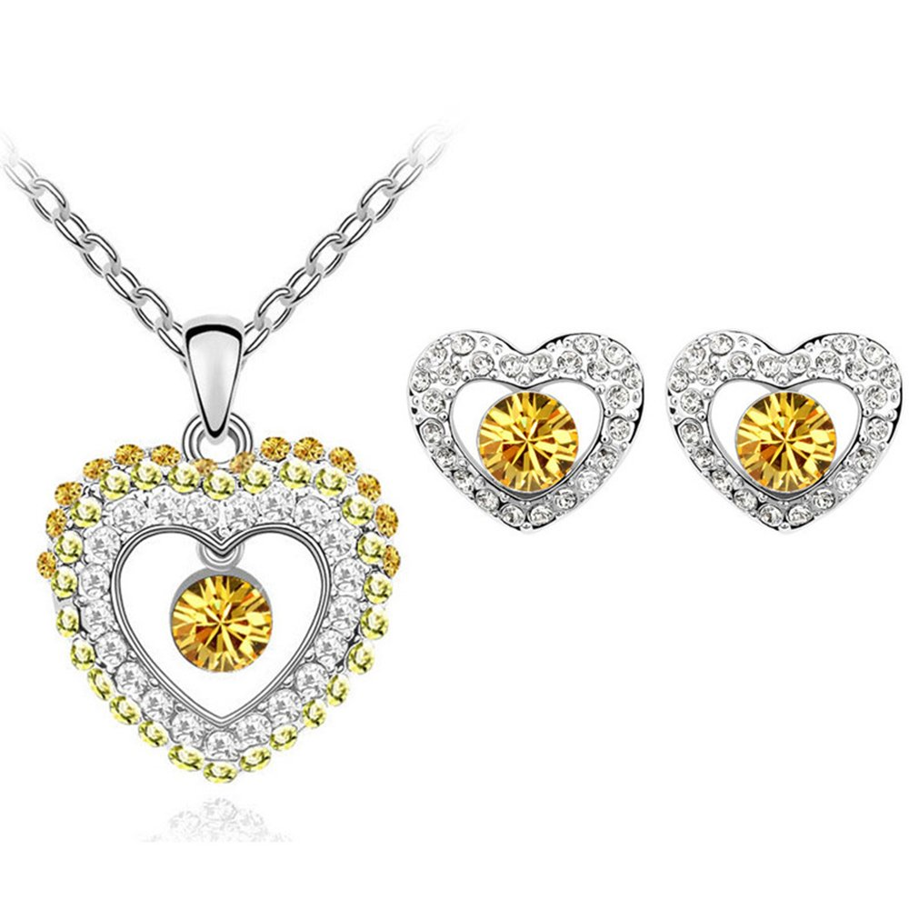 MUZHE Hollow Double Love Crystal CZ Pendant Necklace Earrings Set for Women Jewelry (Yellow)