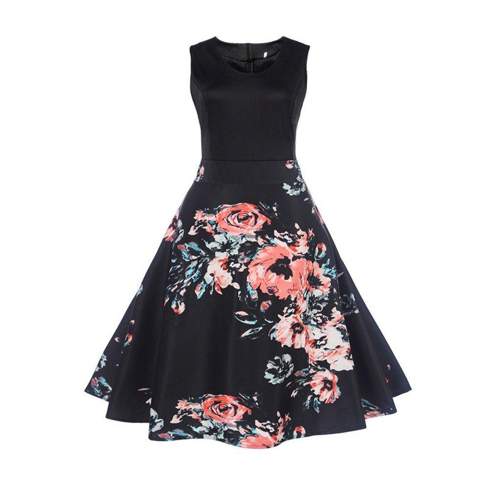 Uscharm Girls Sleeveless Dress Vintage Flower Print Bodycon Casual Evening Party Prom Swing Dress