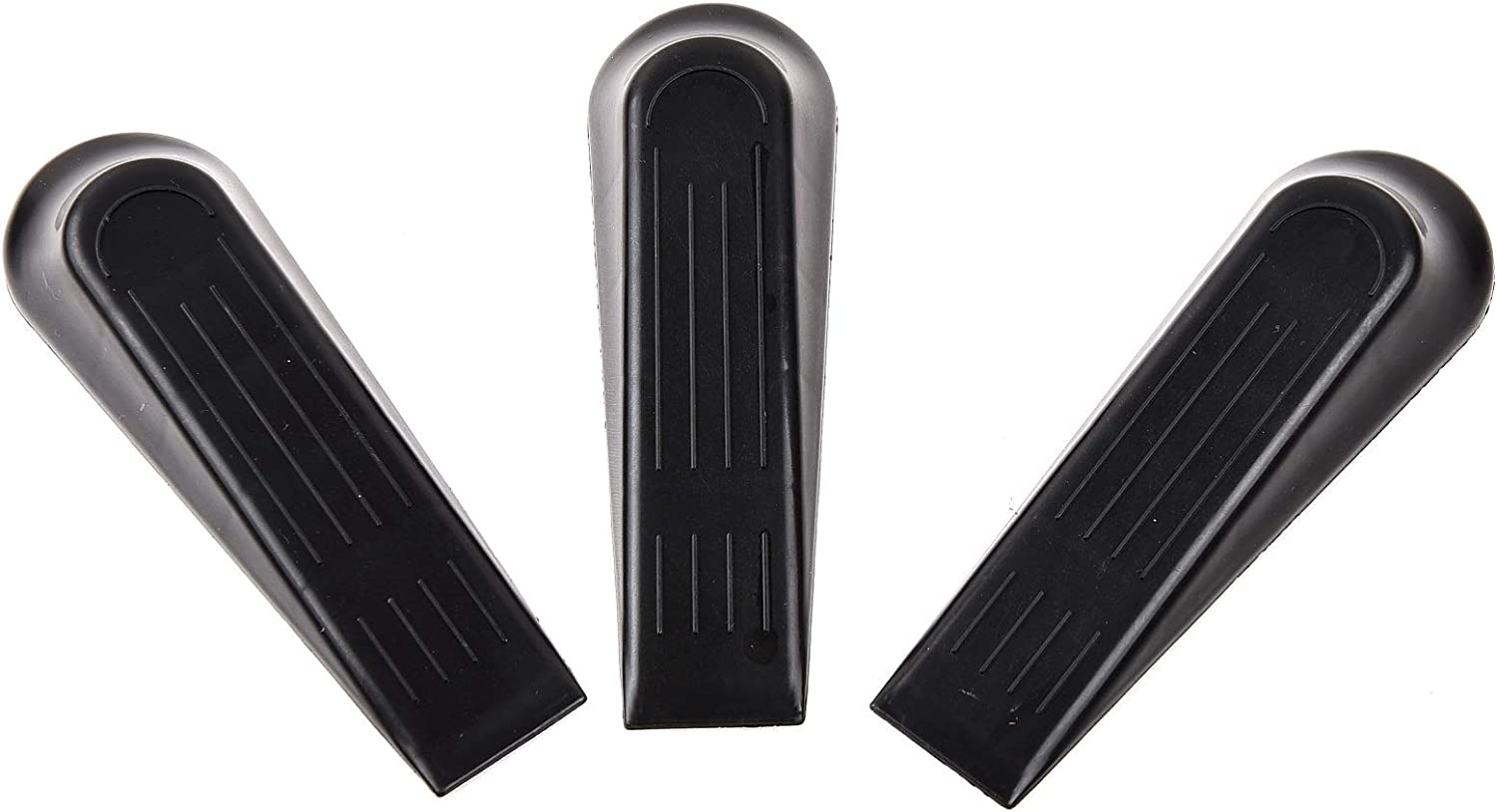 Black SIGO Door Stopper Rubber Door Stop Works on All Floor Surfaces 3 Pack Hardwood or Tile Prevent The Lock-Outs Control The Size of The Door Gaps and Great for Carpet