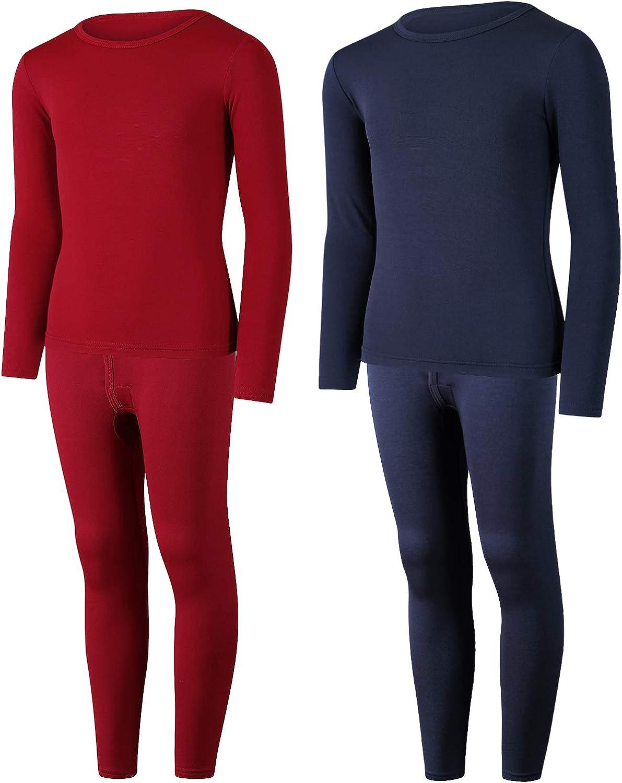 Boys Thermal Underwear Set Fleece Lined Long Johns Kids Top /& Bottom Knit Base Layer Winter Sets 2 Pack