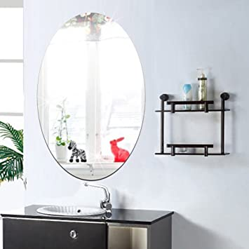 27x42cm Bathroom Self Adhesive Removeable Oval Mirror Wall Sticker Home Decor