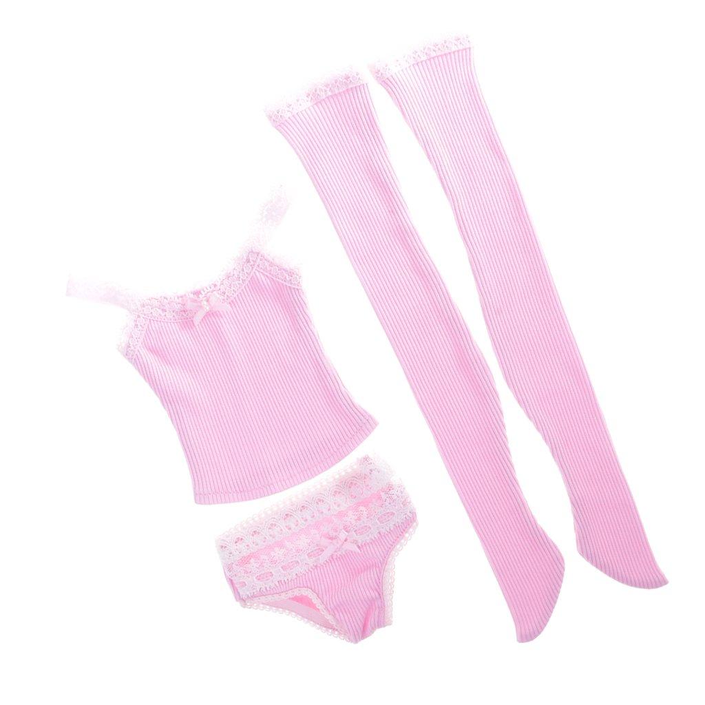 Jili Online Pink Suspender Top Underwear Stockings Set with Lace Sleepwear for 1//3 BJD SD AS DZ Dress Up