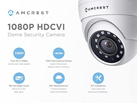 Amcrest Full HD 1080P 1920TVL Dome Outdoor Security Camera, 2MP 1920x1080P, 98ft Night Vision, Metal Housing, 3.6mm Lens 90 Viewing Angle, White REP-AMC1080DM36-W Renewed