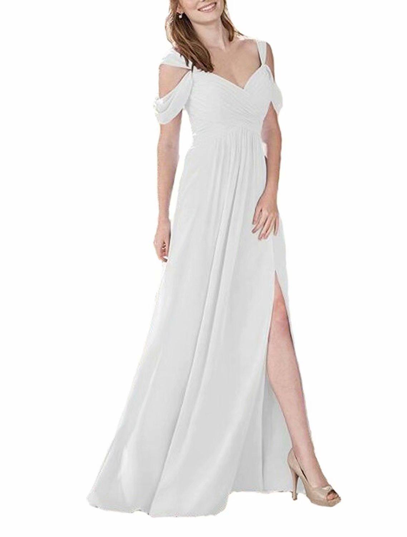 TTdamai Women's Off Shoulder Bridesmaid Dresses Long Chiffon HIgh Slit Wedding Party Prom Dresses US4 Size