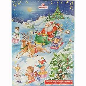 Snow Scene PeA German Advent Calendar with Chocolate Gifts Inside