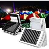 Demana 20000mAh Solar LED Portable Dual USB Power Bank 5x18650 External Battery Charger DIY Box Case Power Bank Kit with LED Light for Cell Phone,(Battery/Cable Not Included) (Silver)