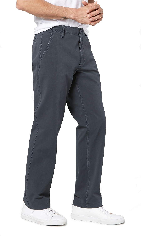 DOCKERS Downtime Khaki Pants Straight Fit Flex Smart 360 Stretch Steelhead Gray