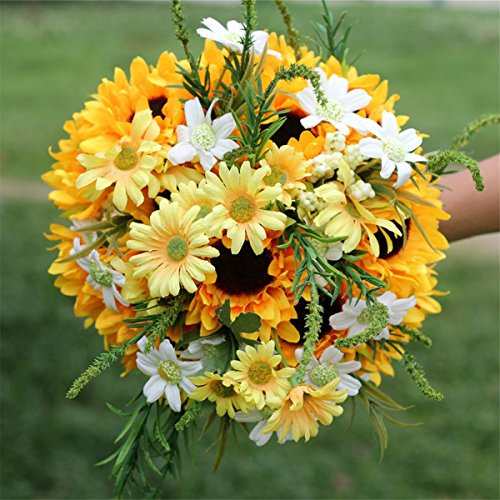 Bouquets Bridal Sunflower (Zebratown 8.7inch Sunflower Artificial Flower Bride holding Flower Photography Props wedding Bouquet (Orange))