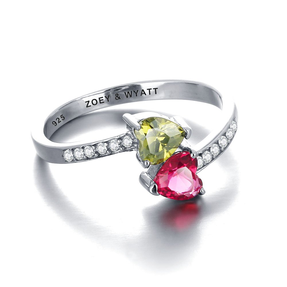 Personalized Promise Ring 2 Birthstones and 1 Engraving Customized Size 6