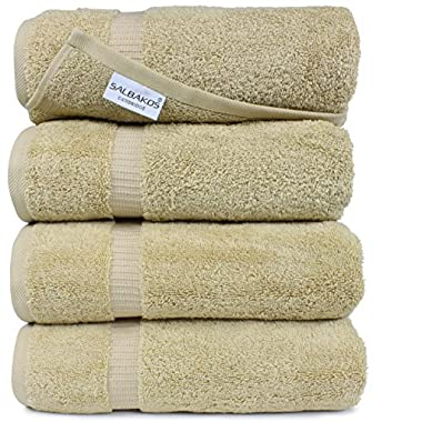 Turkish Luxury Hotel & Spa 27 x54  Bath Towel Set of 4 - 100% Genuine Turkish Cotton - Organic Eco-Friendly (Bath Towels, Taupe)