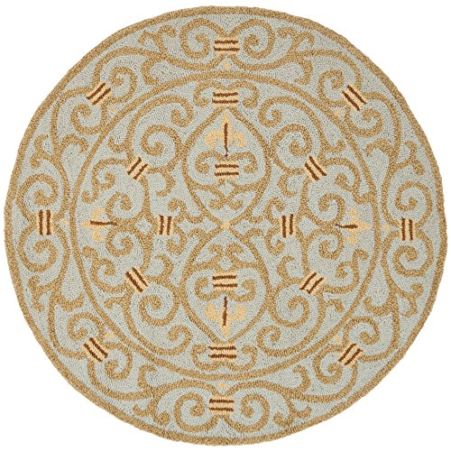 Hand Hooked Blue Rug (Safavieh Chelsea Collection HK11L Hand-Hooked Light Blue Premium Wool Round Area Rug (3' Diameter))