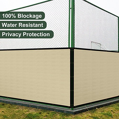 Coarbor 14'x32' Vinyl Coated Polyester (PVC) Mesh Privacy Fence Screen Fencing for Back Yard Deck Patio Garden Barrier Blocker 100% Blockage With Gommets on Edges 450GSM Make To Order-Beige