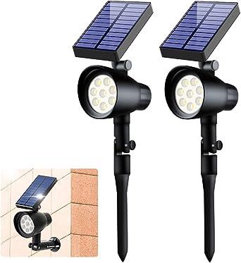 Foco Solar, Ubitree Impermeable Luces Solares Exterior 2 Modos ángulo de 180° Ajustable, 8 LED Luces Solares Jardín Iluminación para Jardín Patio Garaje Terraza Pared Calzada, 2 Piezas: Amazon.es: Iluminación