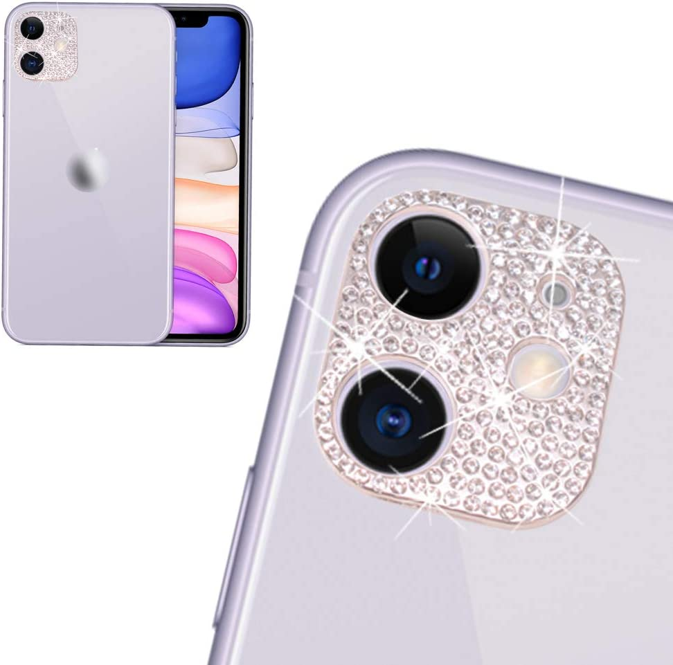 Rear Camera Decorations for iPhone 11 3D Bling Bling Diamond Lens Protective with Flash Hole Ring Anti-Fall Decorate Crystal Rhinstone Sticker iPhone11 Protector Cover Silver