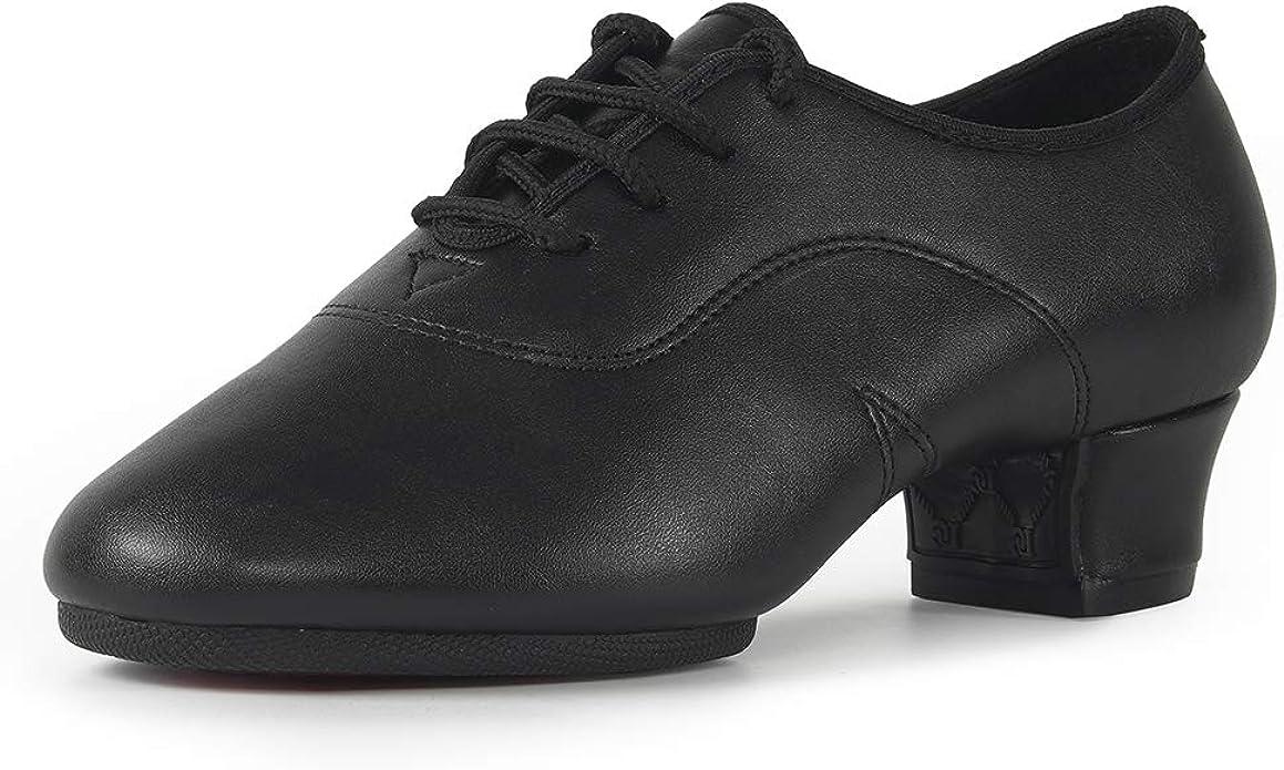 Black Ballroom Men Tap Dance Shoes Leather Women Ladies Boys Girls Children Shoe