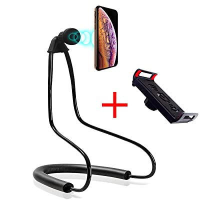 Giosio Magnetic Universal Tablet & Cell Phone Holder, Lazy Hanging on Neck Bracket, Mobile Phone Stand, 360 Degree Rotating Bendable Flexible Gooseneck Mount for Desk, Bed, Sofa for Any Phone & Tablet