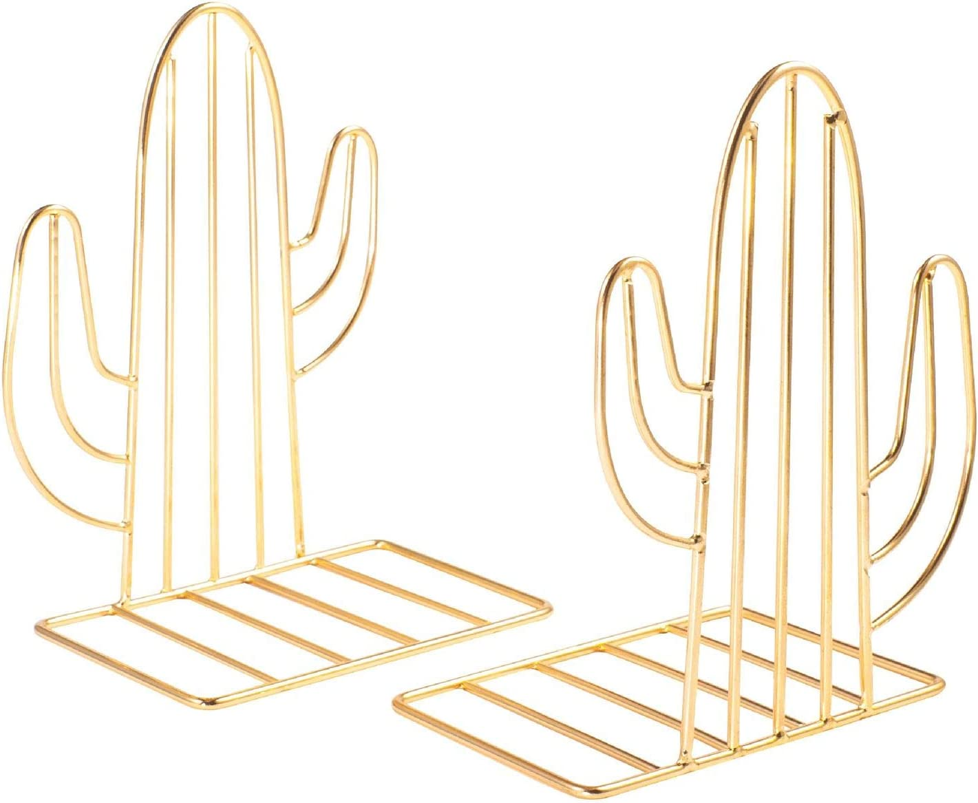 Set of 2 Zodaca Glossy Gold Metal Bookends, Decorative Book Stoppers for Shelves, Cute Cactus