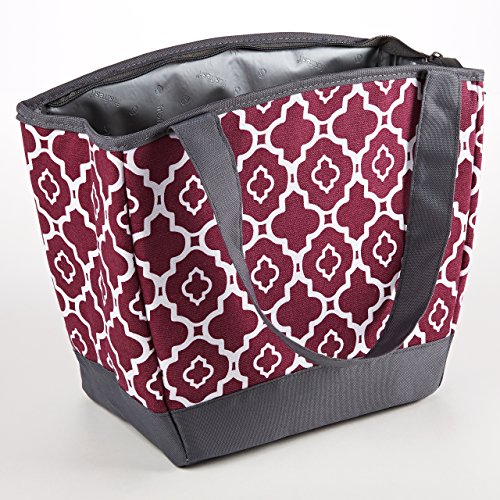Fit & Fresh Hyannis Insulated Lunch Bag for Women, Soft Cooler Bag with Ice Pack for Work and On-The-Go, Maroon Ikat Geo - Fresh Lunch