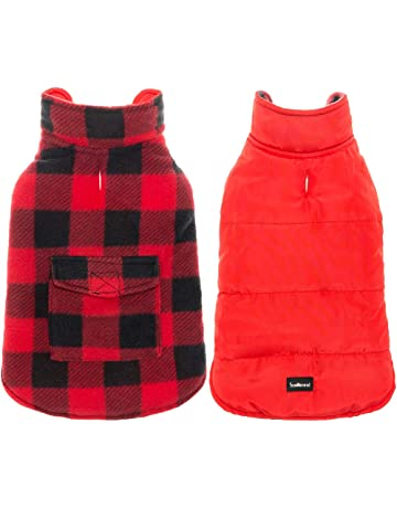 SCENEREAL Dog Winter Clothes Reversible Jacket Warm Coat Windproof Waterproof Plaid Vest Christmas Suit for Small