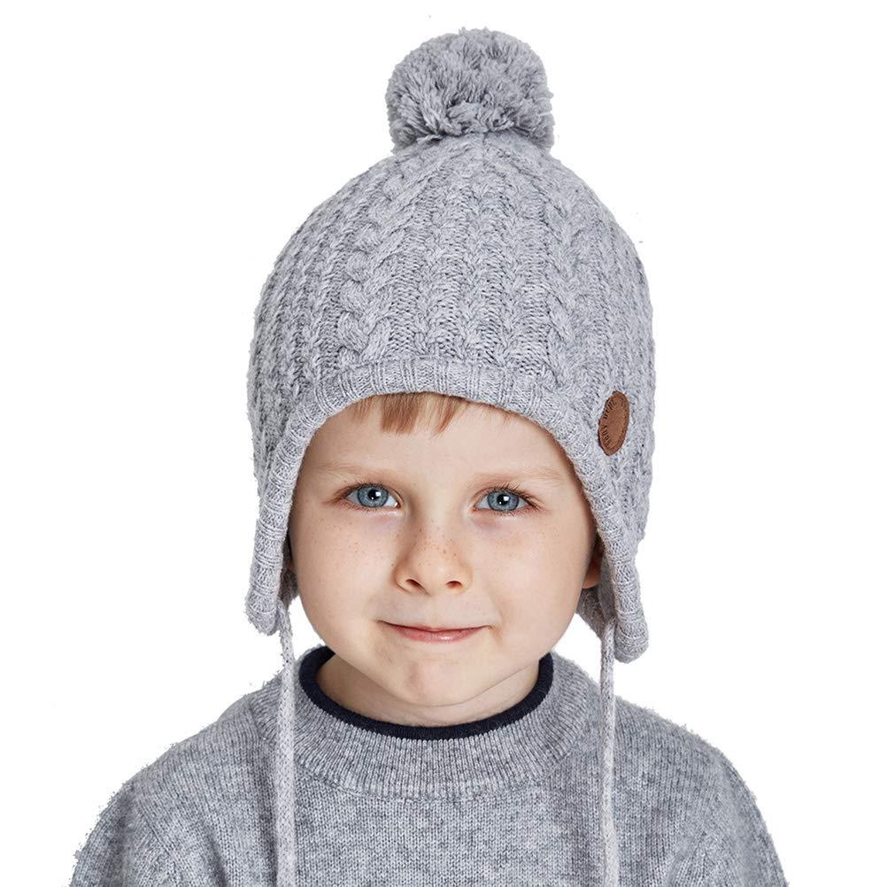 32809c7c134 SOMALER Toddler Kids Winter Ear Flap Beanie Hat Boy Girl Fur Pompom Knit  Hats product image