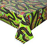 "Construction Truck Birthday Plastic Tablecloth, 84"" x 54"""