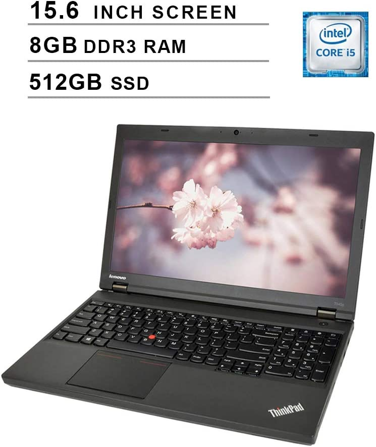 2019 Newest Premium Lenovo Thinkpad T540P 15.6 Inch Laptop (Intel Dual Core i5-4200M up to 3.1GHz, 8GB DDR3L RAM, 512GB SSD, Intel HD 4600, DVD, WiFi, Windows 10 Pro) (Renewed)