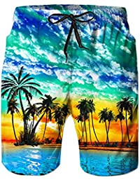 TUONROAD Prints Palm Tree Green White Cloud Short Swim Trunks Summer Holiday Shorts Unique Printed Beach Swimwear Physique Board Shorts,Medium,Beach-b