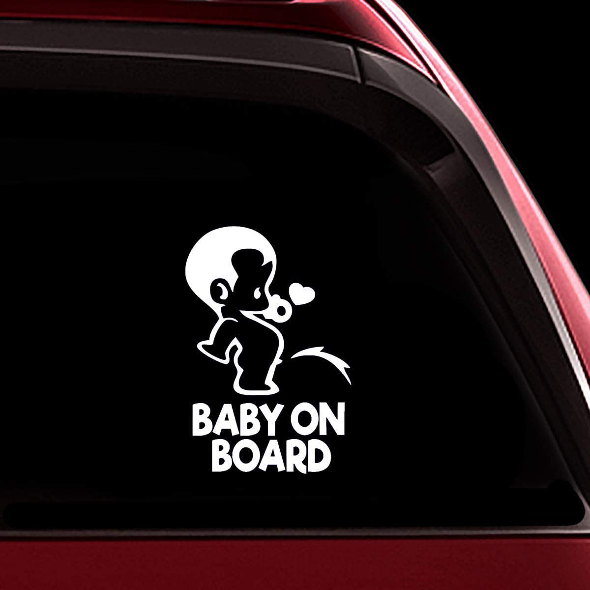 TOTOMO Baby on Board Sticker - Funny Cute Safety Caution Decal Sign for Cars Windows and Bumpers - Peeing Boy ALI-034