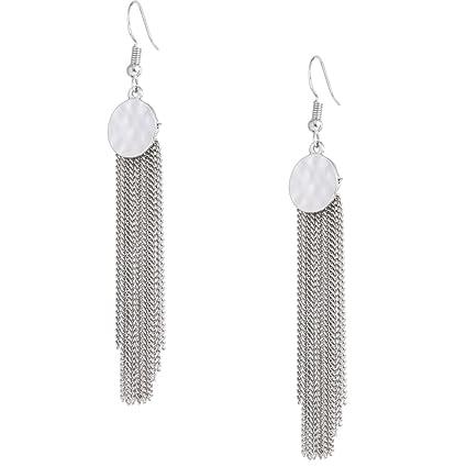 a8a172862 Amazon.com: HSWE Tassel Drop Earrings Coin Matel Round Chain Tassel Dangle  Earrings (Silver): Clothing