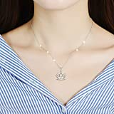 """LINLIN FINE JEWELRY Lotus Necklace 925 Sterling Silver White Cubic Zirconia Open Lotus Flower Pendant Necklace Gift for Women, 18"""" Rolo Chain"""